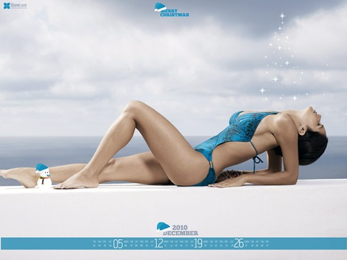Hot-girl-Christmas-desktop-wallpaper