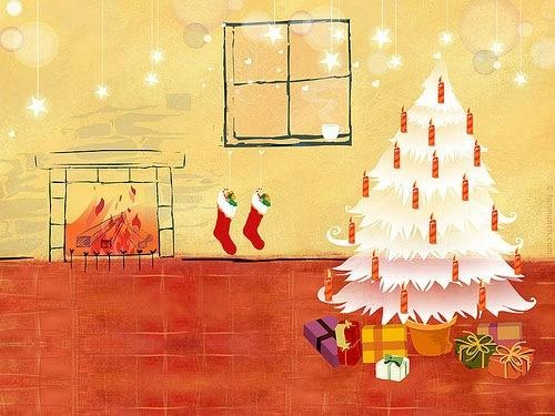 Illustrated Christmas Wallpaper