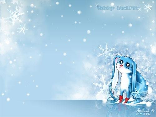 Blue Winter Rabbit Wallpaper