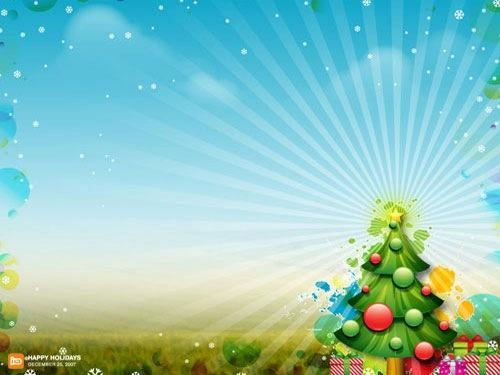 Shiny Christmas Tree and Stars Wallpaper