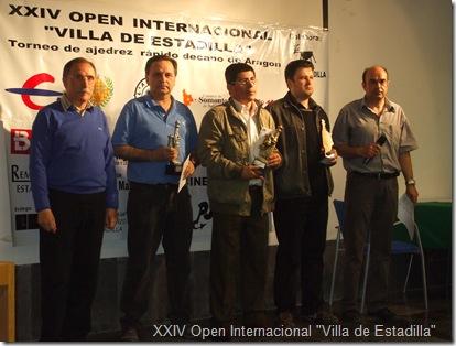 """Podio del XXIV Open Internacional de Ajedrez """"Villa de Estadilla""""."""