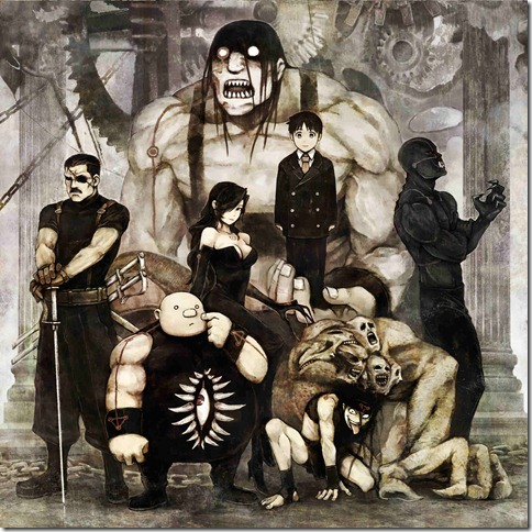 Wrath, Gluttony, Lust, Pride, Envy, Greed (front), Sloth (big guy in the back)