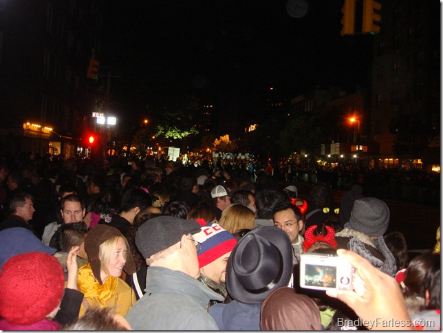 A picture of the crowd going up one side of 6th avenue.