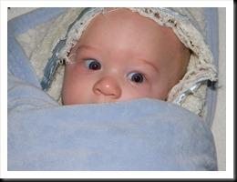 Blue-eyes-Danny bundled up after bath time