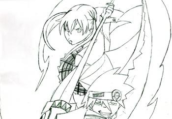 Maka y Soul, Fan Art de Soul Eater por Keira