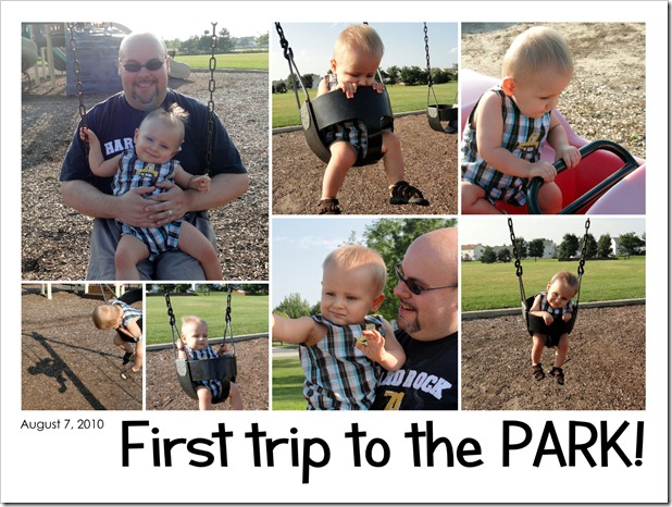 First trip to the PARK! - August 7, 2010