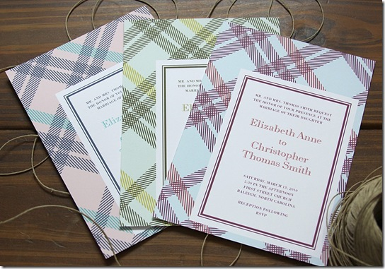 GatsbyPlaidWeddingInvites.dapperpaper.etsy