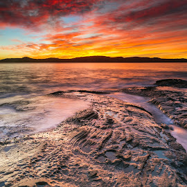 Sunrise from Pearl Beach South by Andrew Murrell - Landscapes Sunsets & Sunrises ( water, reflection, seascape, sunrise, landscape,  )