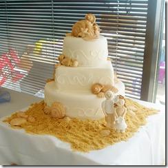 Shells and Sand Beach Wedding Cake