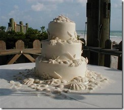 Beach Wedding Cake with Various Shells and Starfish