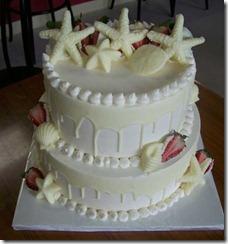 White Chocolate and Strawberries Beach Theme Wedding Cakes with Starfish and Shells