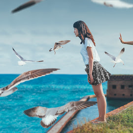 untitle by Wei Ding - Digital Art People ( dry tortugas national park, fine art, beach, key west, birds, chinese )