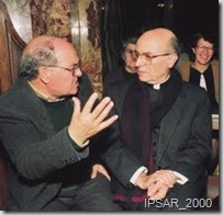 Maestro Joaquim dos Santos (esquerda); Bispo D. Joaquim Gonçalves (direita)