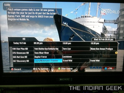 Tata Sky  HD 19 - TV Guide - HD channels