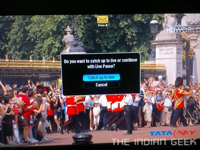 Tata Sky  HD 18 - Live TV Catchup Prompt