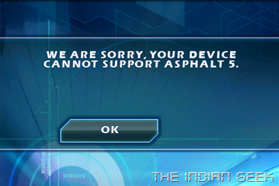 Samsung Galaxy Ace S5830 screenshot - Asphalt 5 error
