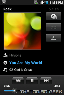 Samsung Galaxy Ace S5830 screenshot - Music app 01
