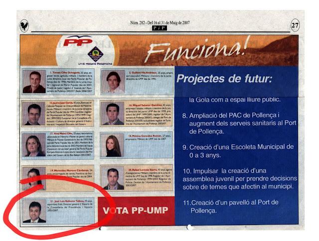 Llista municipal del PP. Pepote és al num.21 com a personatge il·lustre que tanca la llista.