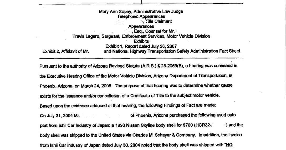 ... Vehicle Title Hearing Decision | Vehicle Import and Car Importing FAQ