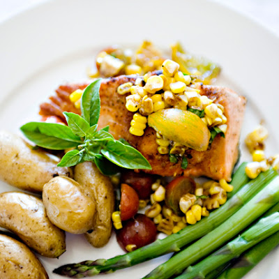 Salmon with Corn and Tomato Relish