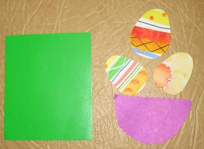 Пасхальная открытка с корзинкой