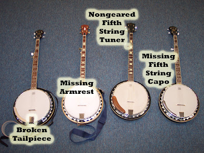 Four troubled banjos that could become three good ones