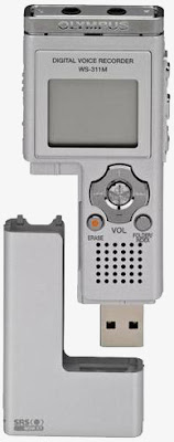 Olympus WS-311M Digital Voice Recorder, showing USB connection