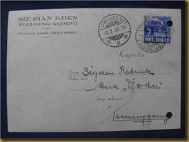 Kartu pos Tulungagung Temanggung 9 juli 1935