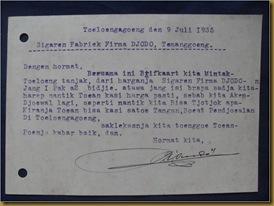 Kartu pos Tulungagung Temanggung 9 juli 1935 - balik