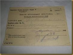 Kwitansi Padjak sepeda Gazelle 1960