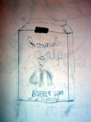 Drawing of a round up bubble gum box