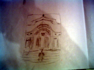 drawing of a church depicting symmetrical focus