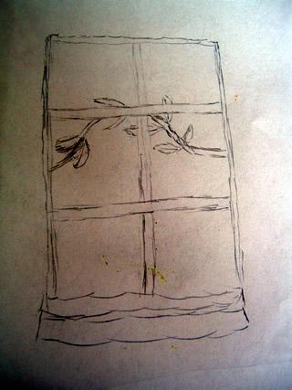branch behind a window