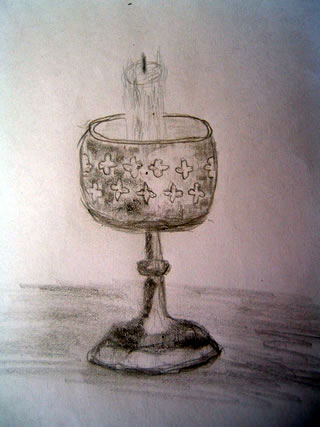 Sketch of a candle stick holder with an unlit candle