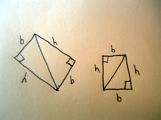 Right triangles turned into rectangles