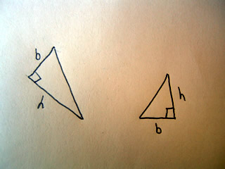 Sketch of two right triangles