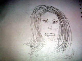 Sketch of angry Natalie Portman with crooked eyes