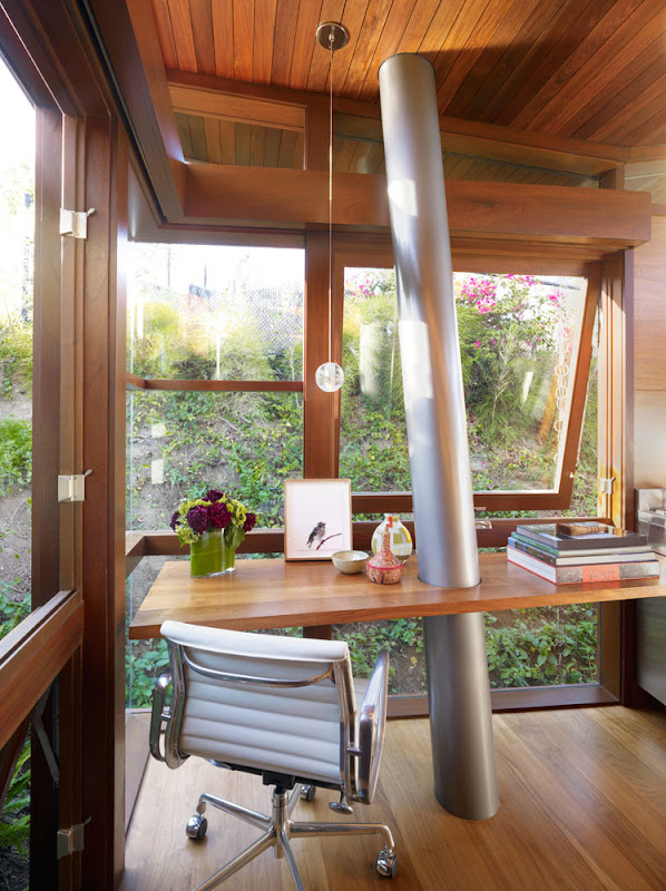 wooden treehouse design minimalist home office