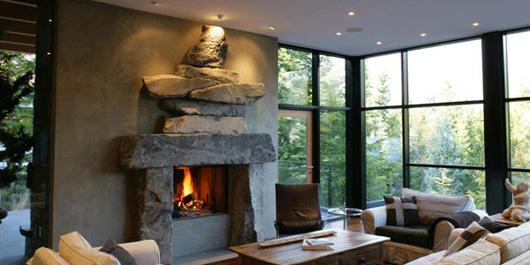 contemporary home design living room fireplace