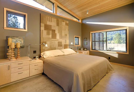 wooden cabin home design bedroom interior