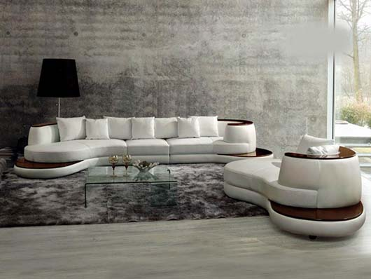 Elegant Italian Living Room Furniture with unique sofa