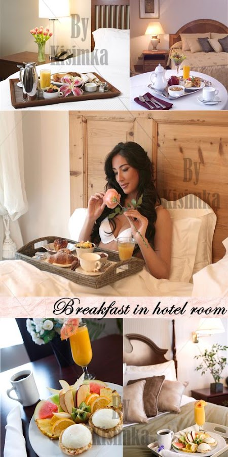 Stock Photo: Breakfast in hotel room