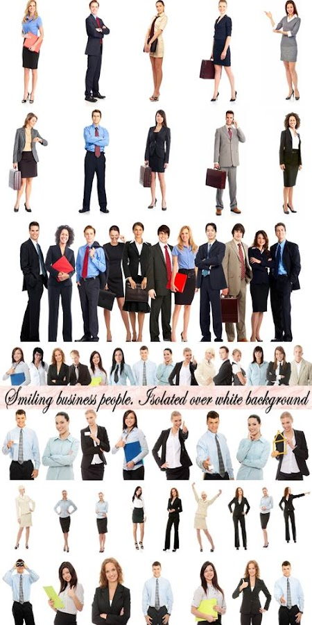 Stock Photo: Smiling business people. Isolated over white background
