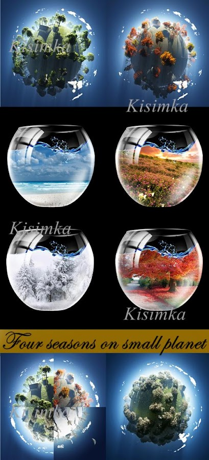 Stock Photo: Four seasons on small planet