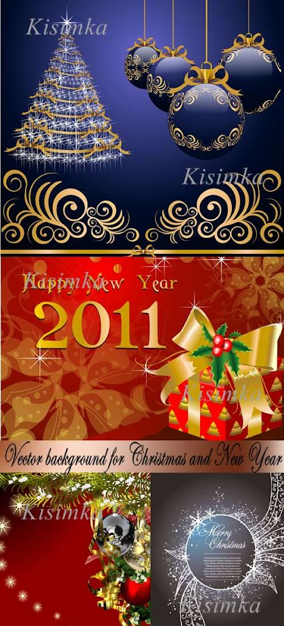 Stock: 4 Vector background for Christmas and New Year