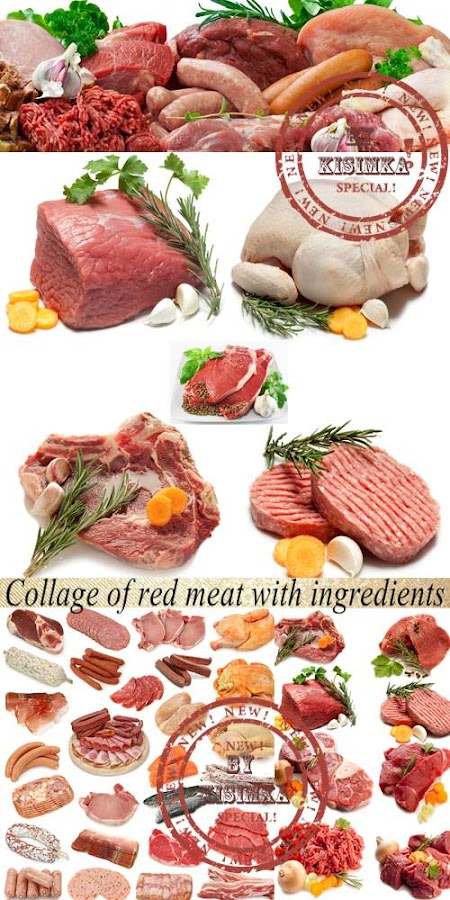 Stock Photo: Collage of red meat with ingredients