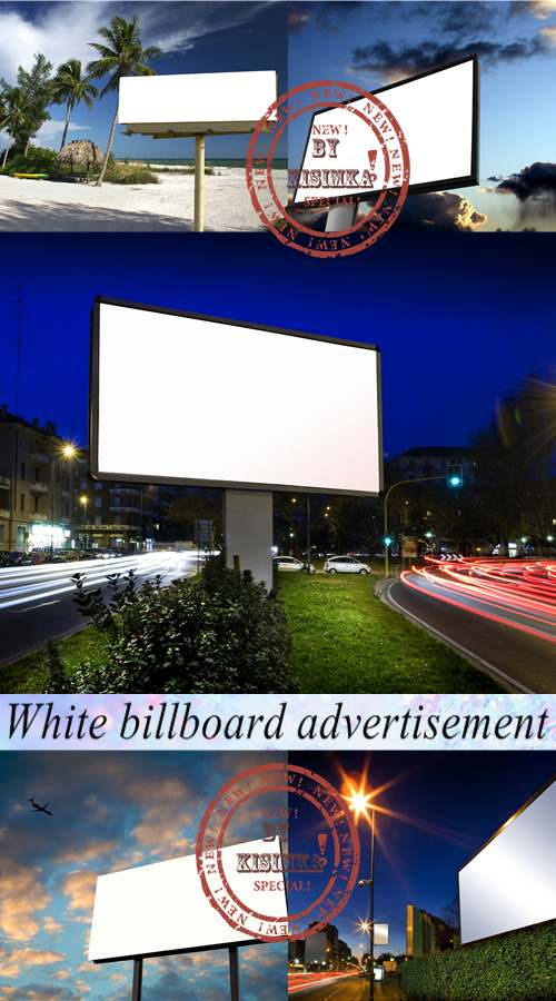 Stock Photo: White billboard advertisement