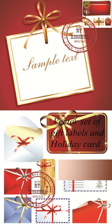 Stock: Vector set of gift labels and Holiday card