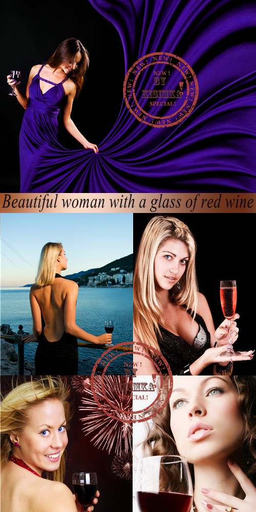 Stock Photo: Beautiful woman with a glass of red wine