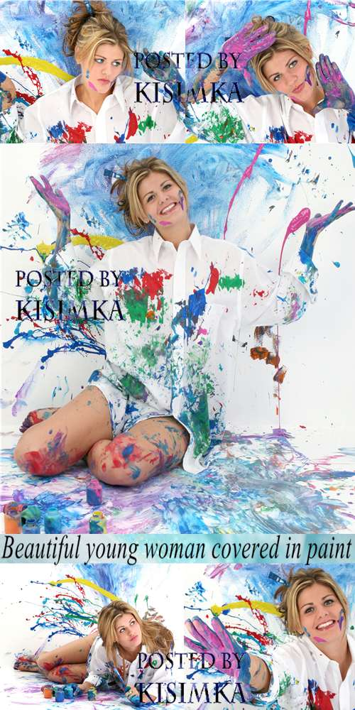 Stock Photo: Beautiful young woman covered in paint